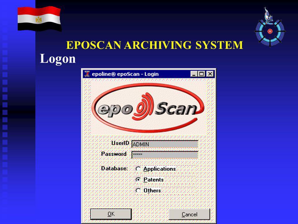 Logon EPOSCAN ARCHIVING SYSTEM