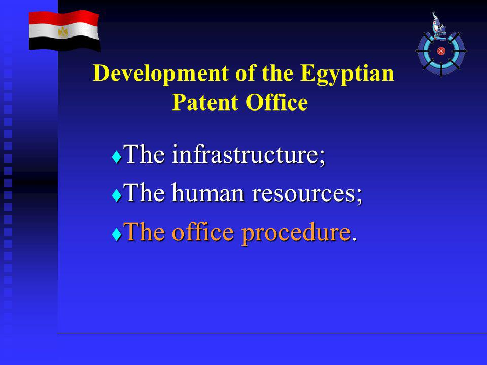  The infrastructure;  The human resources;  The office procedure. Development of the Egyptian Patent Office