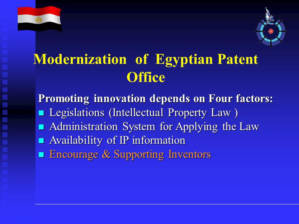 Promoting innovation depends on Four factors: Legislations (Intellectual Property Law ) Legislations (Intellectual Property Law ) Administration Syste