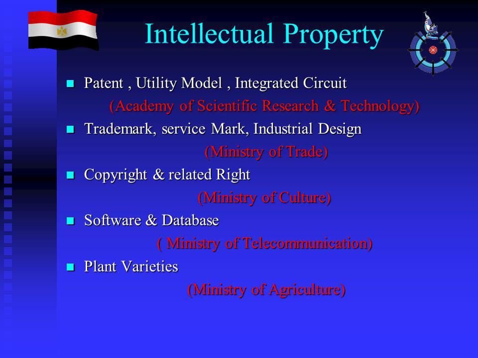 Patent, Utility Model, Integrated Circuit Patent, Utility Model, Integrated Circuit (Academy of Scientific Research & Technology) Trademark, service Mark, Industrial Design Trademark, service Mark, Industrial Design (Ministry of Trade) (Ministry of Trade) Copyright & related Right Copyright & related Right (Ministry of Culture) Software & Database Software & Database ( Ministry of Telecommunication) Plant Varieties Plant Varieties (Ministry of Agriculture) (Ministry of Agriculture)