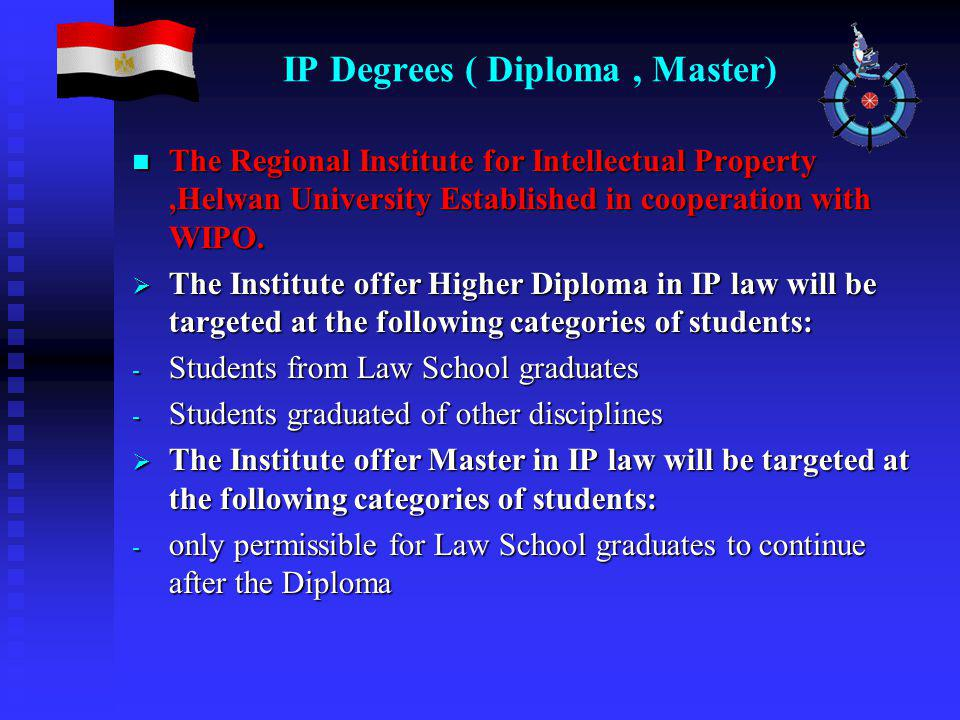 IP Degrees ( Diploma, Master) The Regional Institute for Intellectual Property,Helwan University Established in cooperation with WIPO.