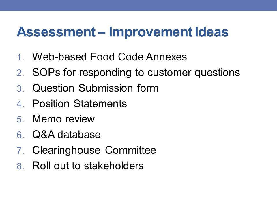 Assessment – Improvement Ideas 1. Web-based Food Code Annexes 2.