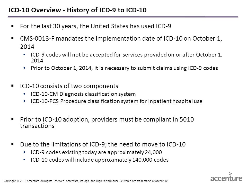 Copyright © 2013 Accenture All Rights Reserved. Accenture, its logo, and High Performance Delivered are trademarks of Accenture. ICD-10 Overview - His