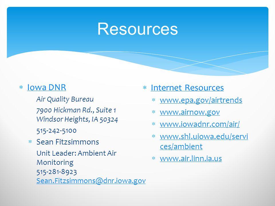 Resources  Iowa DNR Iowa DNR Air Quality Bureau 7900 Hickman Rd., Suite 1 Windsor Heights, IA 50324 515-242-5100  Sean Fitzsimmons Unit Leader: Ambi