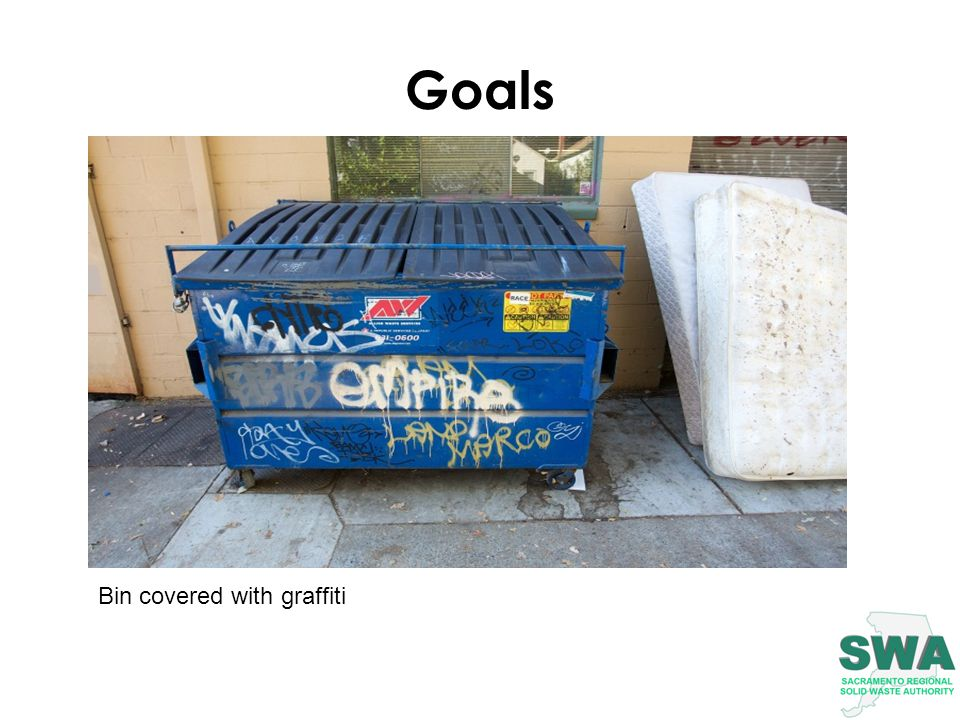 Goals Bin covered with graffiti