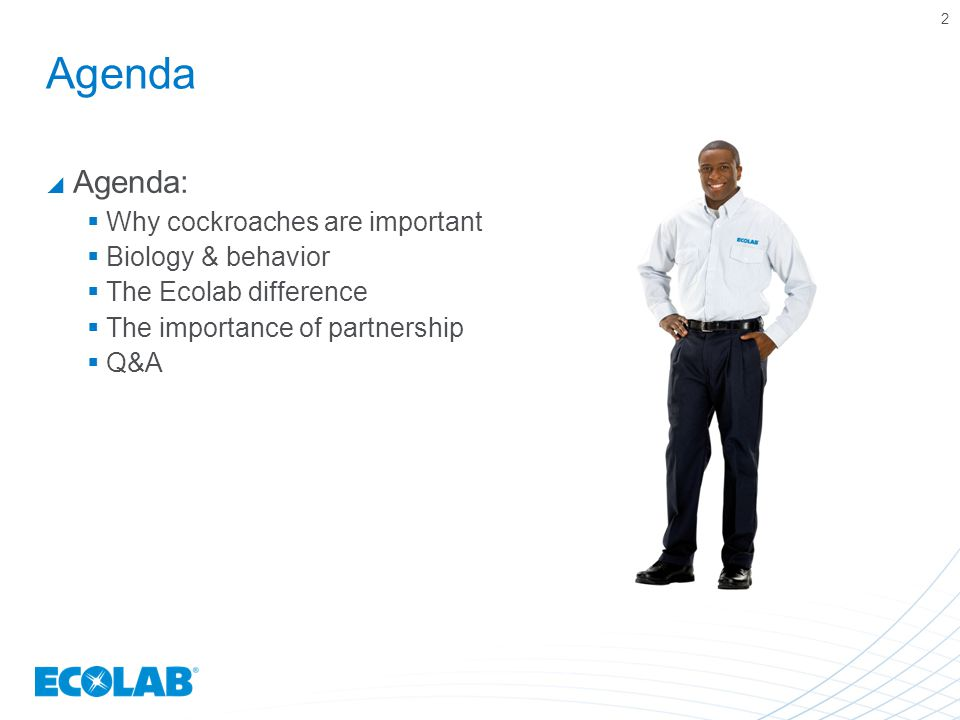 Agenda  Agenda:  Why cockroaches are important  Biology & behavior  The Ecolab difference  The importance of partnership  Q&A 2