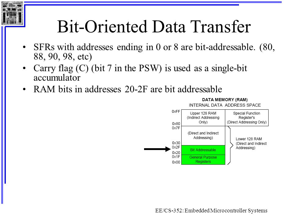 EE/CS-352: Embedded Microcontroller Systems Bit-Oriented Data Transfer SFRs with addresses ending in 0 or 8 are bit-addressable. (80, 88, 90, 98, etc)