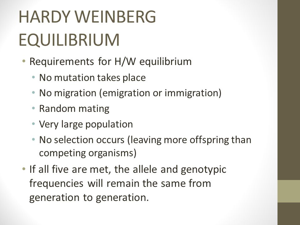 HARDY WEINBERG EQUILIBRIUM Requirements for H/W equilibrium No mutation takes place No migration (emigration or immigration) Random mating Very large