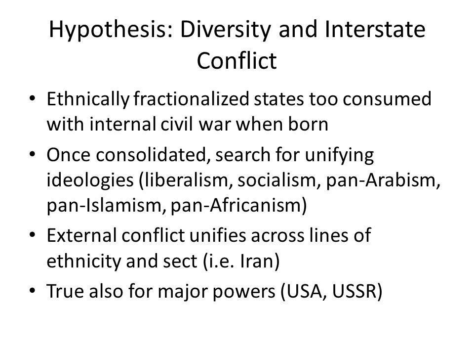 Hypothesis: Diversity and Interstate Conflict Ethnically fractionalized states too consumed with internal civil war when born Once consolidated, search for unifying ideologies (liberalism, socialism, pan-Arabism, pan-Islamism, pan-Africanism) External conflict unifies across lines of ethnicity and sect (i.e.