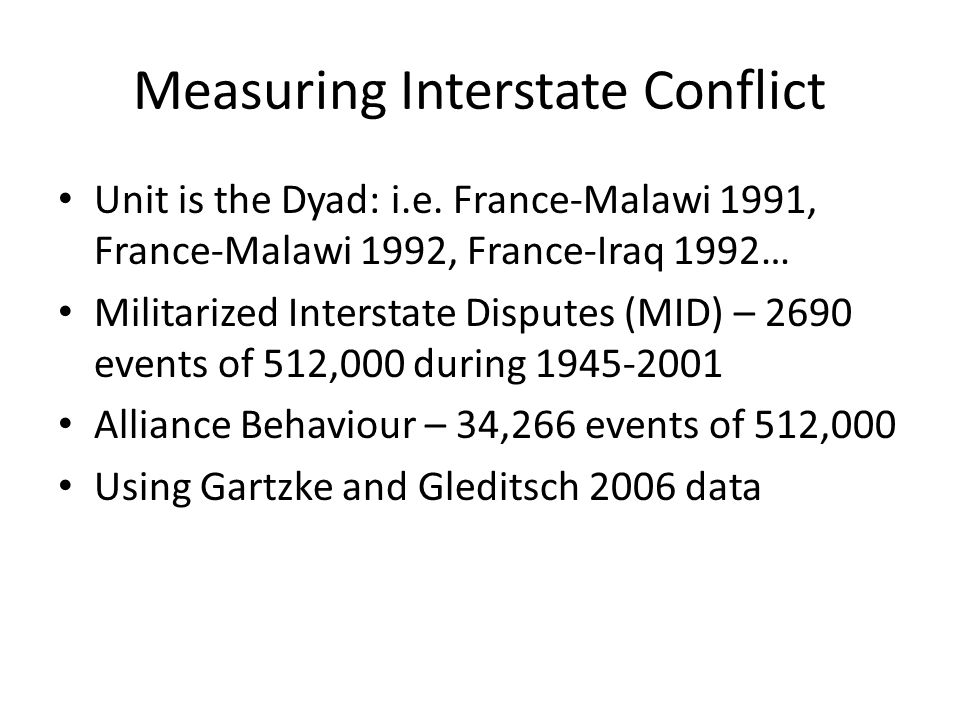 Measuring Interstate Conflict Unit is the Dyad: i.e.