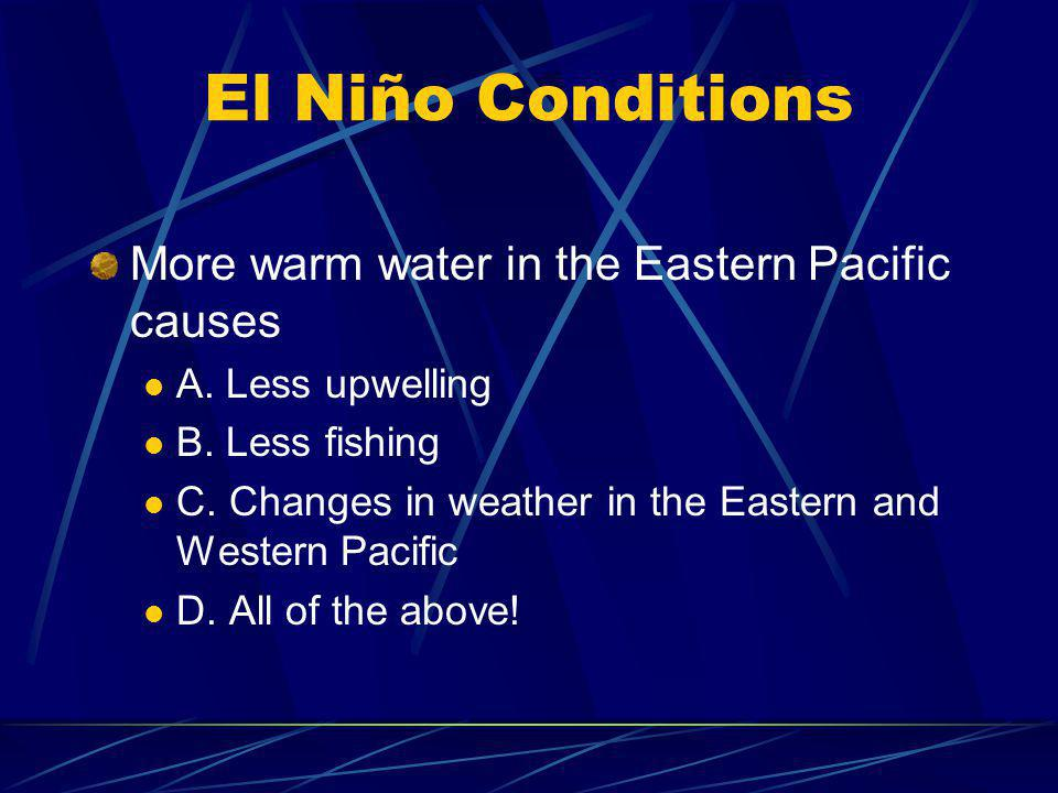 El Niño Conditions More warm water in the Eastern Pacific causes A. Less upwelling B. Less fishing C. Changes in weather in the Eastern and Western Pa