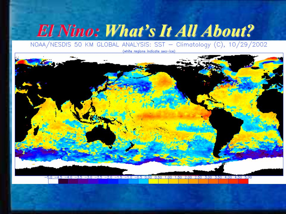 What is El Nino.warming of sea surface waters in the central and eastern Pacific Ocean.