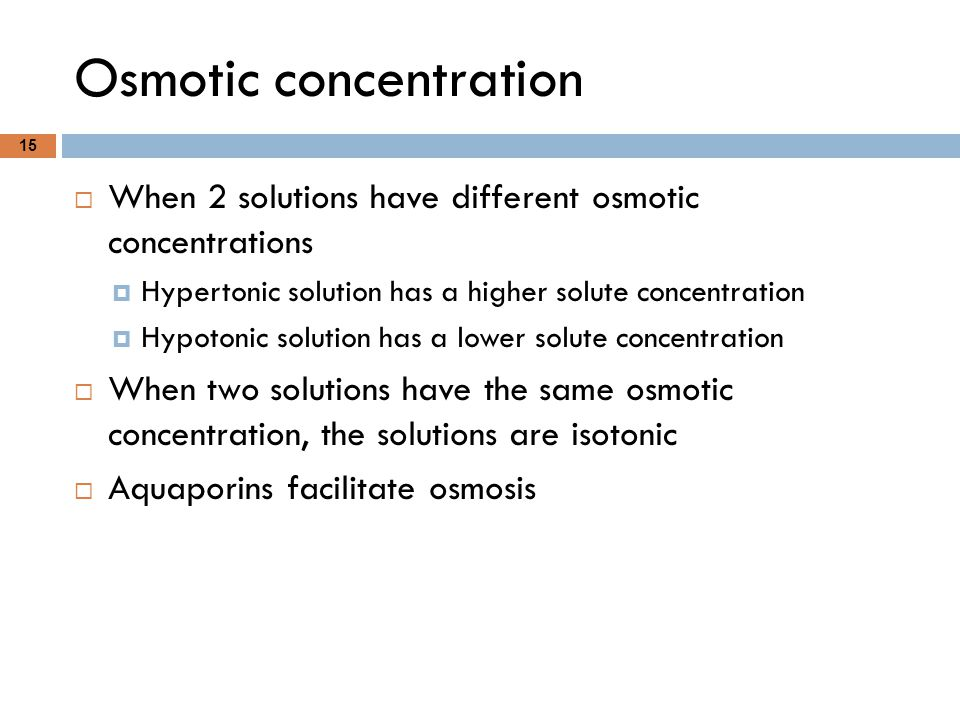 Osmotic concentration 15  When 2 solutions have different osmotic concentrations  Hypertonic solution has a higher solute concentration  Hypotonic