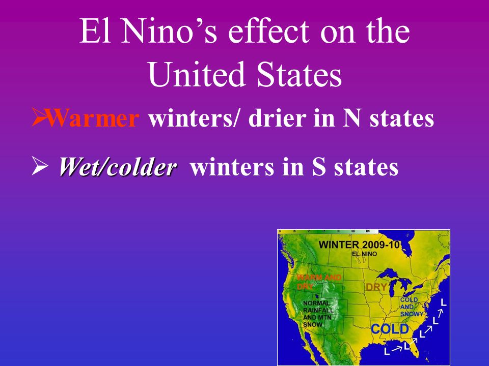 El Nino's effect on the United States  Warmer winters/ drier in N states Wet/colder  Wet/colder winters in S states
