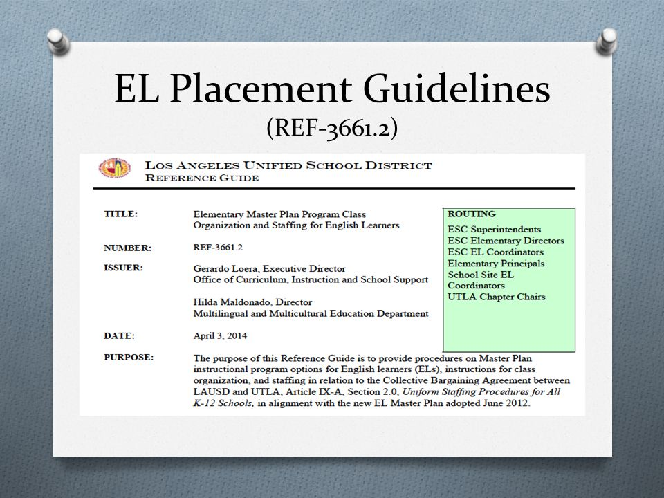 EL Placement Guidelines (REF-3661.2)