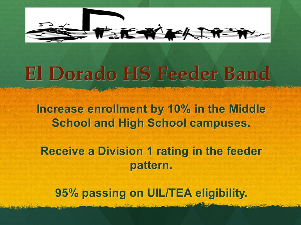 El Dorado HS Feeder Band Increase enrollment by 10% in the Middle School and High School campuses.