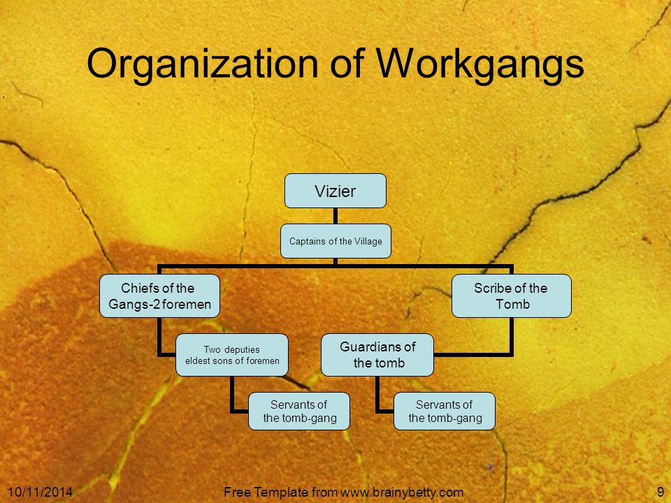 10/11/2014Free Template from www.brainybetty.com9 Organization of Workgangs