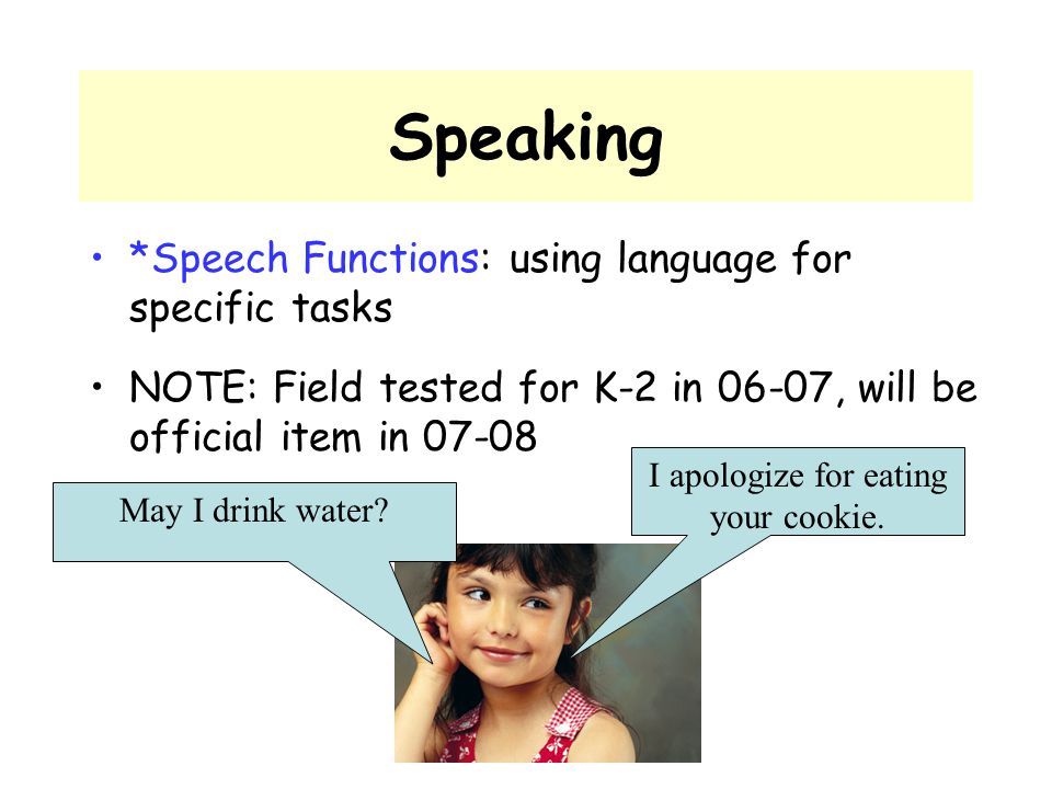 Speaking *Speech Functions: using language for specific tasks NOTE: Field tested for K-2 in 06-07, will be official item in 07-08 May I drink water? I