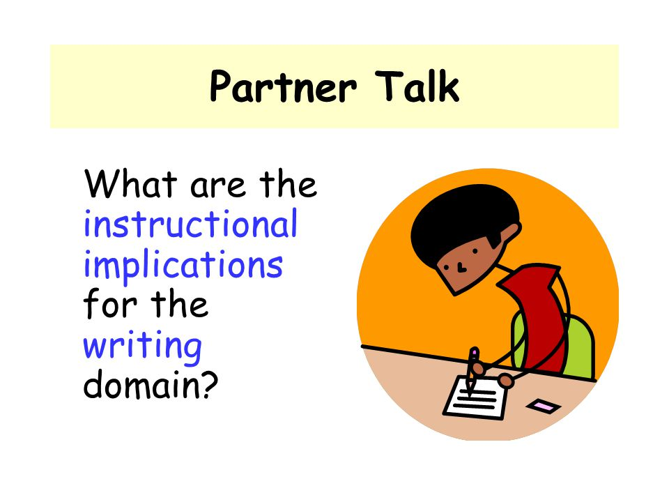 Partner Talk What are the instructional implications for the writing domain?