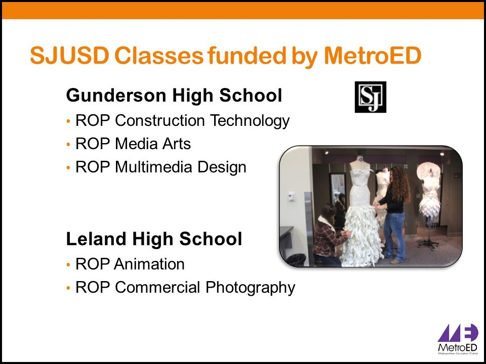 SJUSD Classes funded by MetroED Gunderson High School ROP Construction Technology ROP Media Arts ROP Multimedia Design Leland High School ROP Animatio
