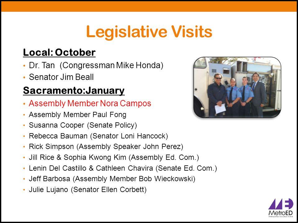 Legislative Visits Local: October Dr. Tan (Congressman Mike Honda) Senator Jim Beall Sacramento:January Assembly Member Nora Campos Assembly Member Pa