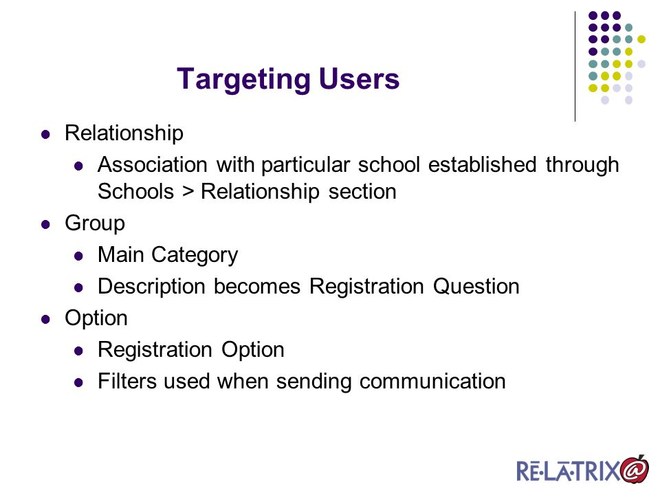 Targeting Users Relationship Association with particular school established through Schools > Relationship section Group Main Category Description becomes Registration Question Option Registration Option Filters used when sending communication