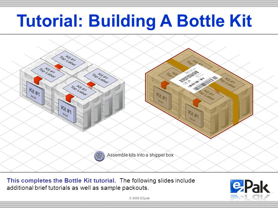 Assemble kits into a shipper box Tutorial: Building A Bottle Kit This completes the Bottle Kit tutorial.