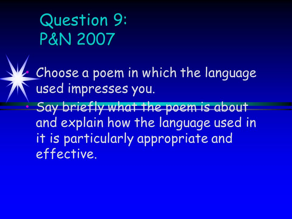 Introduction Refer to the title of the text and the poet's name (remember to try to make this exciting – use the slides!!!) Refer to all areas of the question and briefly state what the essay will show You may also want to introduce some indication of personal response to the text, if there is a suitable comment to make at this point.
