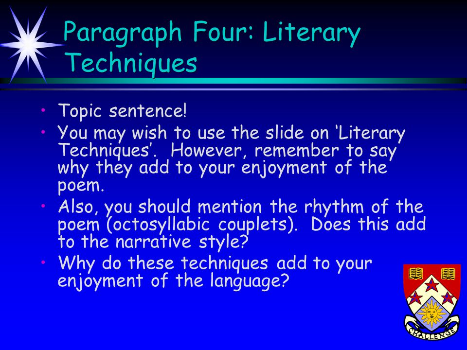 Conclusion An effective concluding paragraph should do the following: Refer directly back to the question Sum up the main points made in the essay Arrive at a final conclusion about the aspect(s) of the poem highlighted in the question Try to provide an interesting personal concluding response