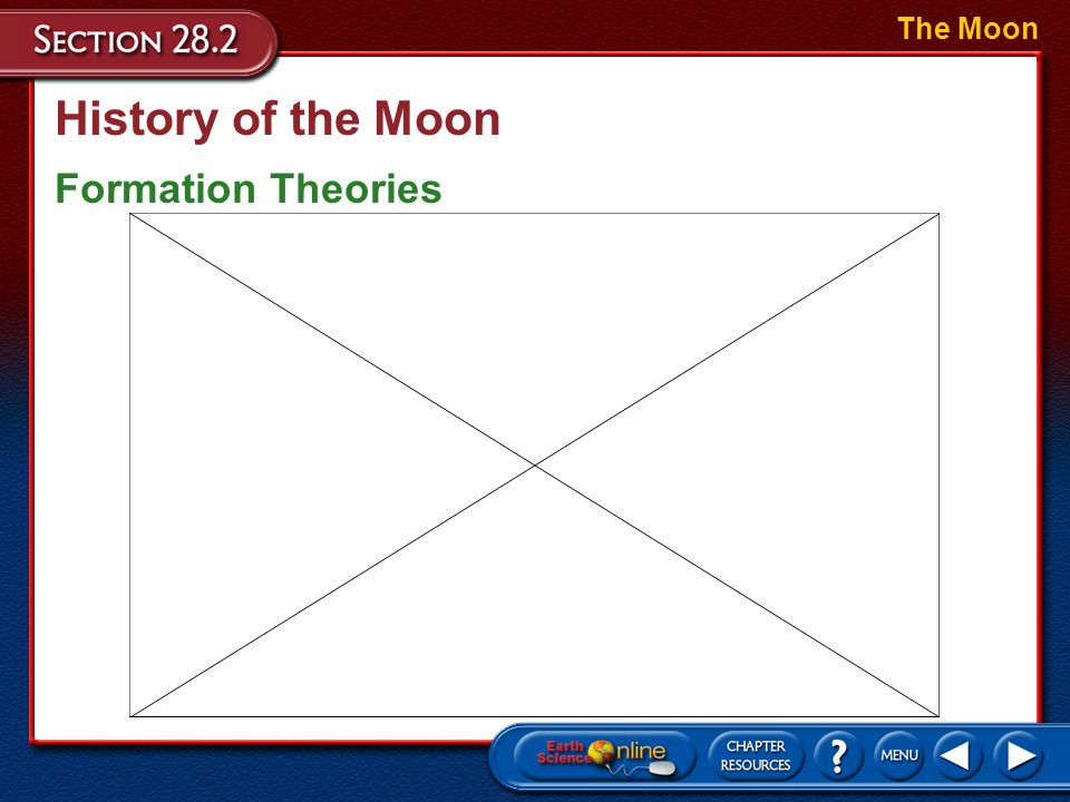 History of the Moon Formation Theories The Moon –The impact theory is the most commonly accepted theory of how the Moon formed. –This theory proposes