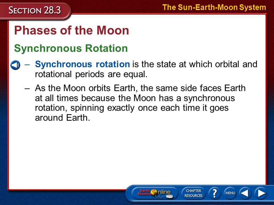 Phases of the Moon The Sun-Earth-Moon System