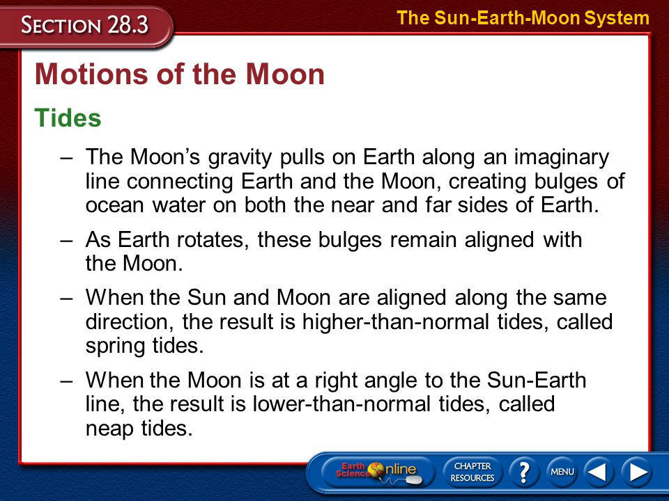 Motions of the Moon The Sun-Earth-Moon System