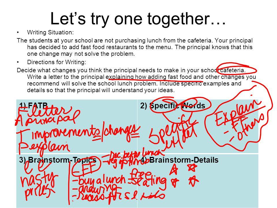 Just a HINT about your technology piece… 1) FATP2) Specific Words 3) Brainstorm-Topics4) Brainstorm-Details