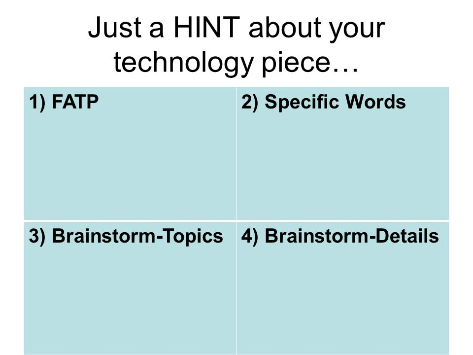 Just a HINT about your technology piece… 1) FATP2) Specific Words 3) Brainstorm-Topics4) Brainstorm-Details