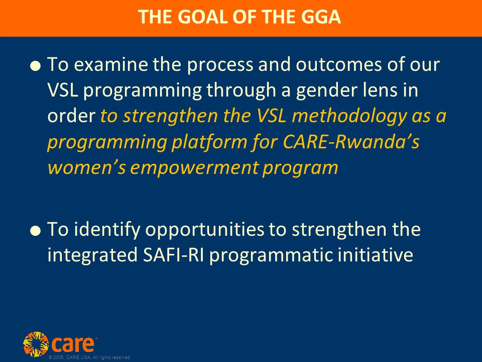 © 2005, CARE USA. All rights reserved.  To examine the process and outcomes of our VSL programming through a gender lens in order to strengthen the V