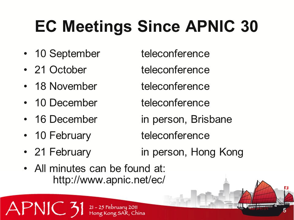 EC Meetings Since APNIC 30 10 Septemberteleconference 21 Octoberteleconference 18 Novemberteleconference 10 Decemberteleconference 16 Decemberin person, Brisbane 10 Februaryteleconference 21 Februaryin person, Hong Kong All minutes can be found at: http://www.apnic.net/ec/ 5