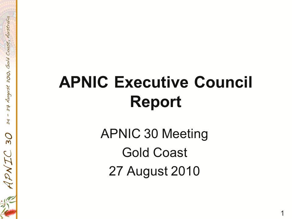 2 APNIC EC Members for 2010 Name(title)CC Termsuntil MAEMURA Akinori (Chair)JP62012 MA Yan (Secretary)CN42012 James SPENCELEY (Treasurer)AU12011 Jian ZHANGCN12011 Hyun-Joon KWONKR12011 Che-Hoo CHENGHK72012 Paul WILSON AU(ex-Officio)