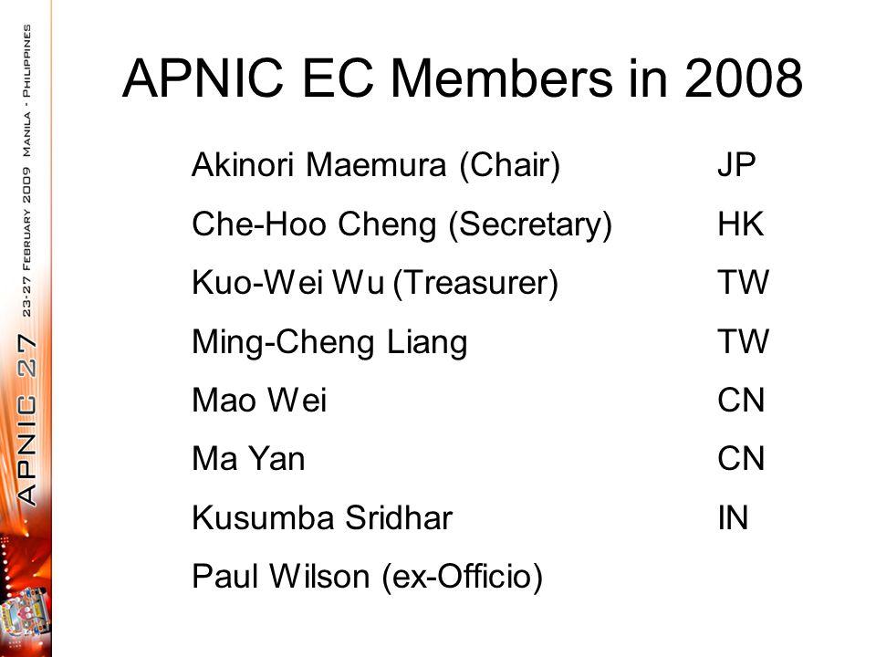 APNIC EC Members in 2008 Akinori Maemura (Chair)JP Che-Hoo Cheng (Secretary)HK Kuo-Wei Wu (Treasurer)TW Ming-Cheng LiangTW Mao WeiCN Ma YanCN Kusumba SridharIN Paul Wilson (ex-Officio)