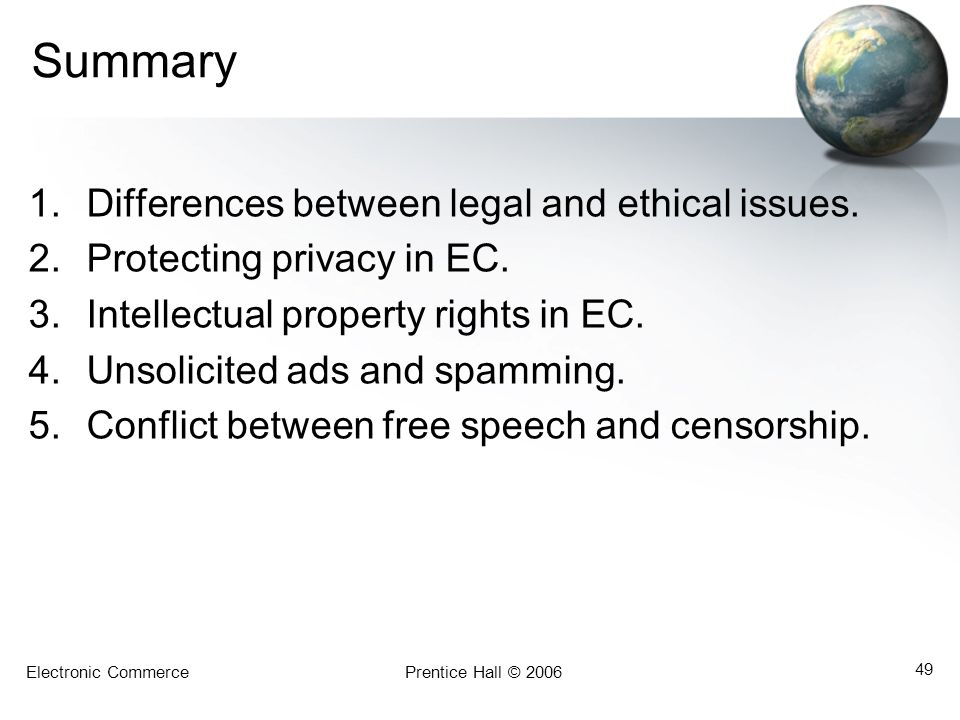 Electronic CommercePrentice Hall © 2006 49 Summary 1.Differences between legal and ethical issues.