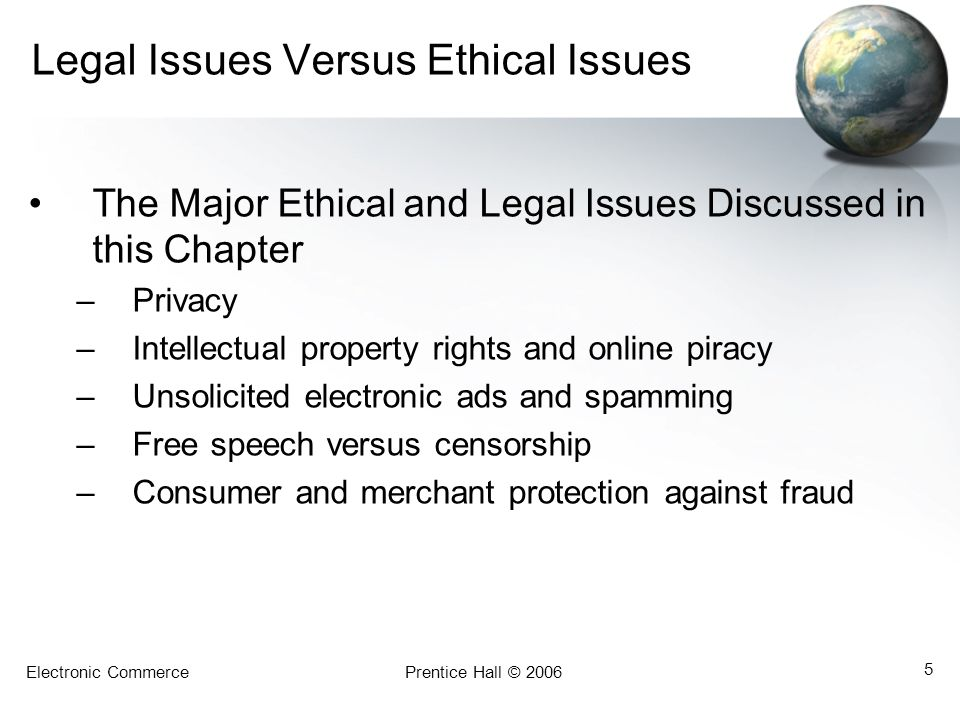 Electronic CommercePrentice Hall © 2006 5 Legal Issues Versus Ethical Issues The Major Ethical and Legal Issues Discussed in this Chapter –Privacy –Intellectual property rights and online piracy –Unsolicited electronic ads and spamming –Free speech versus censorship –Consumer and merchant protection against fraud