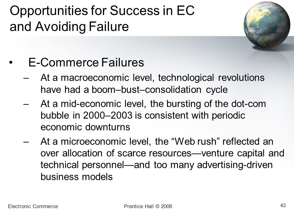 Electronic CommercePrentice Hall © 2006 43 Opportunities for Success in EC and Avoiding Failure E-Commerce Failures –At a macroeconomic level, technol