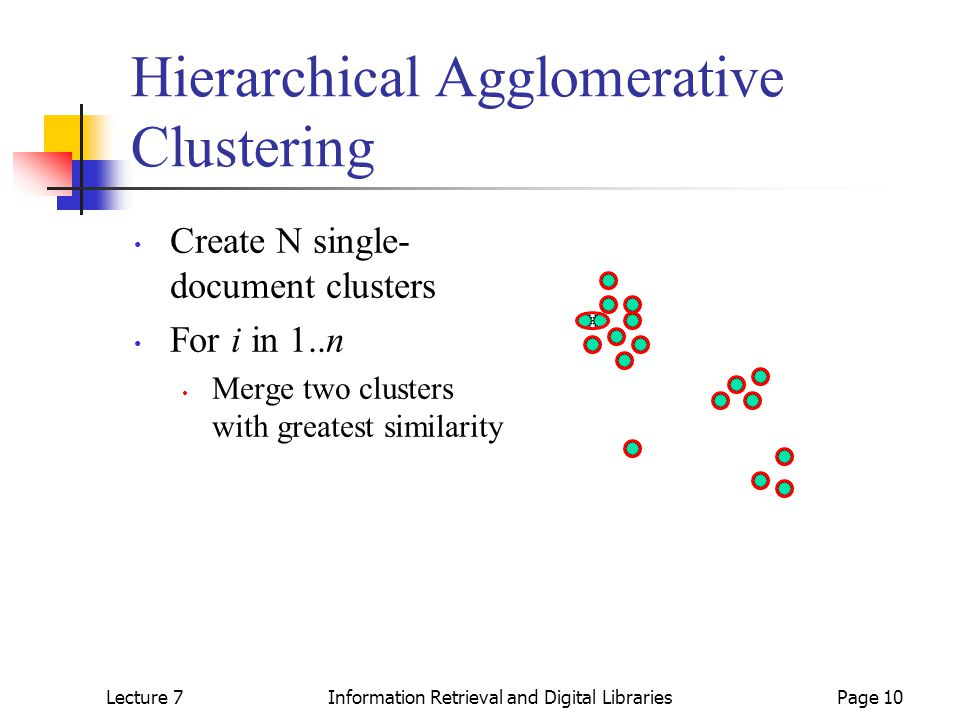 Lecture 7Information Retrieval and Digital LibrariesPage 10 Hierarchical Agglomerative Clustering Create N single- document clusters For i in 1..n Merge two clusters with greatest similarity