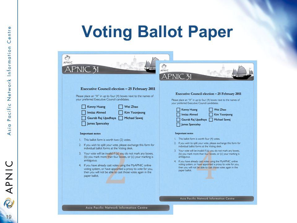 Voting Ballot Paper 19