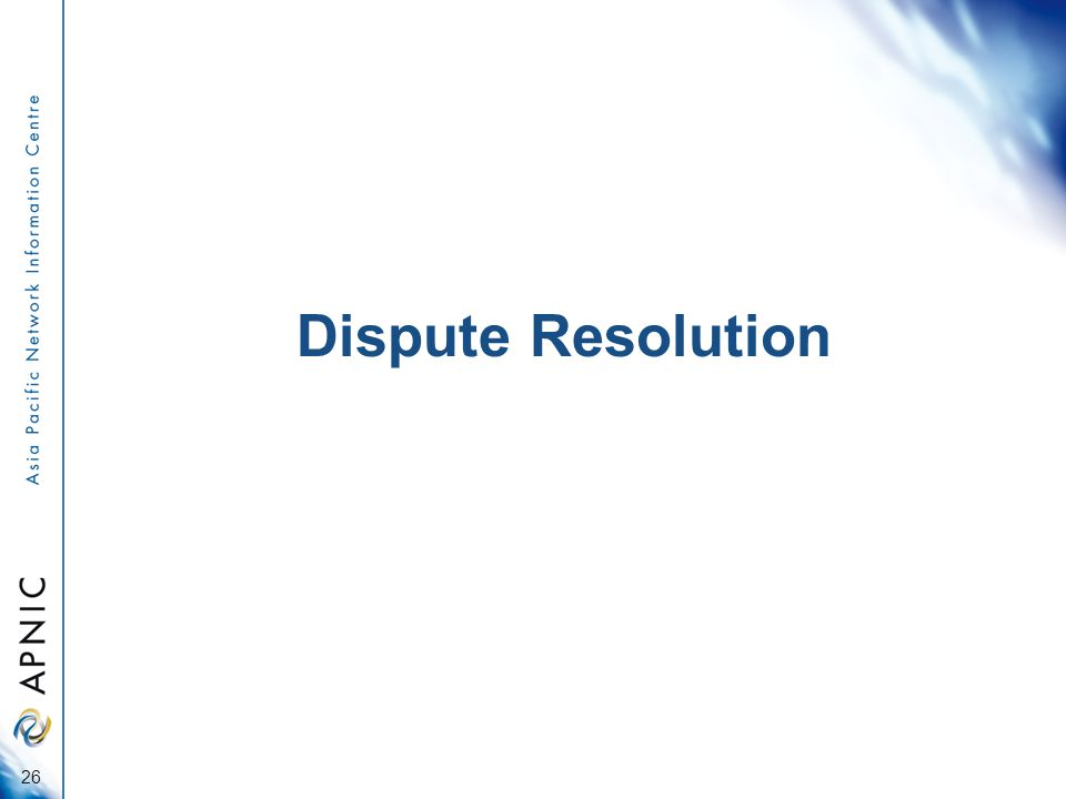 Dispute Resolution 26