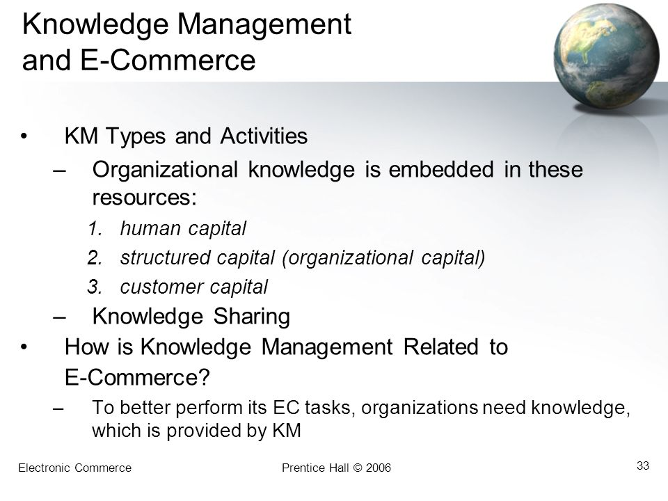 Electronic CommercePrentice Hall © 2006 33 Knowledge Management and E-Commerce KM Types and Activities –Organizational knowledge is embedded in these