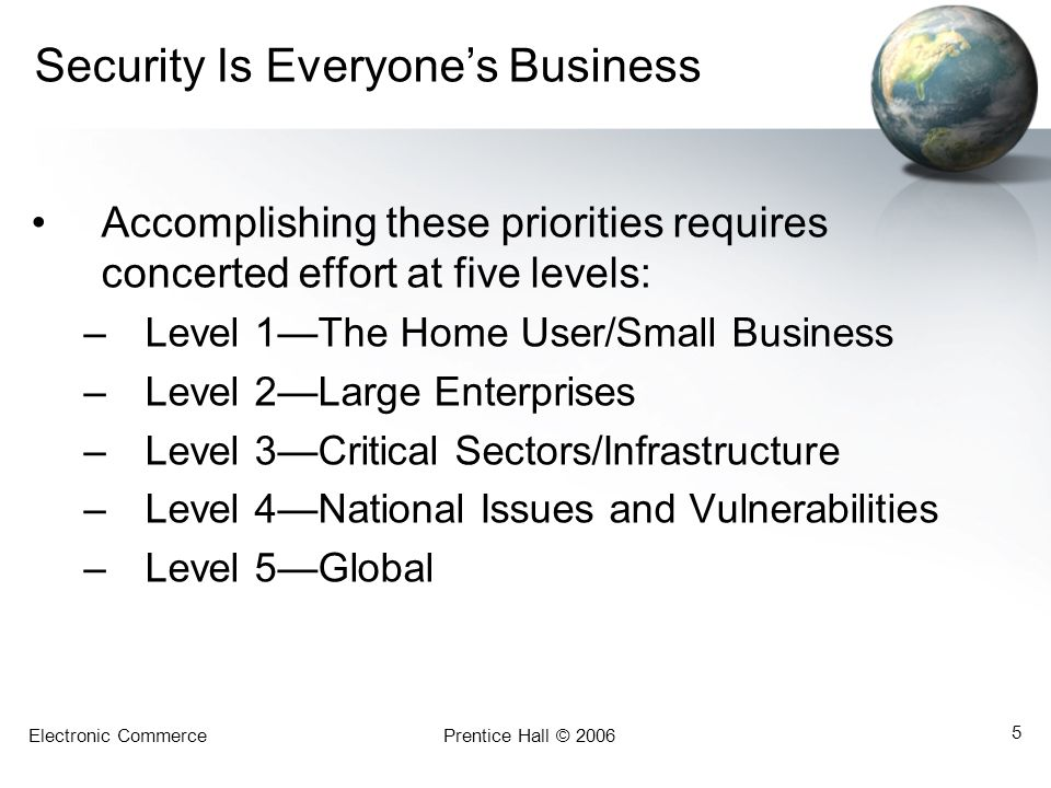 Electronic CommercePrentice Hall © 2006 5 Security Is Everyone's Business Accomplishing these priorities requires concerted effort at five levels: –Le