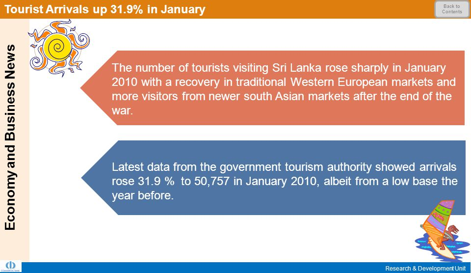 Economy and Business News Research & Development Unit Tourist Arrivals up 31.9% in January Back to Contents The number of tourists visiting Sri Lanka rose sharply in January 2010 with a recovery in traditional Western European markets and more visitors from newer south Asian markets after the end of the war.
