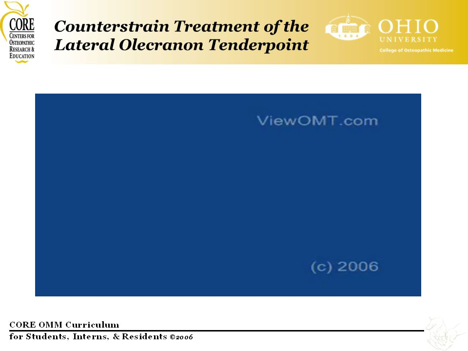 Counterstrain Treatment of the Lateral Olecranon Tenderpoint
