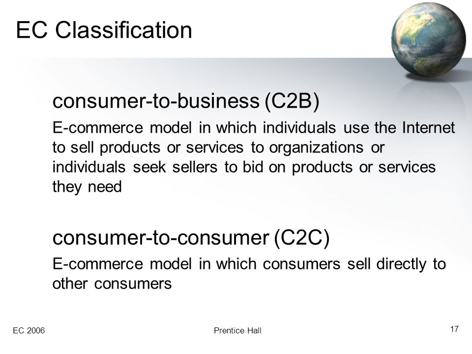 EC 2006Prentice Hall 17 EC Classification consumer-to-business (C2B) E-commerce model in which individuals use the Internet to sell products or servic