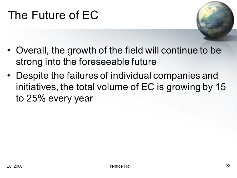 EC 2006Prentice Hall 22 The Future of EC Overall, the growth of the field will continue to be strong into the foreseeable future Despite the failures